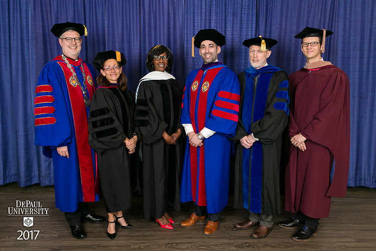 Left to right, the Rev. Dennis H. Holtschneider, C.M., president, Jennifer Rosato Perea, dean of the College of Law, Paulette Brown, honorary degree recipient and commencement speaker, Corey Celt, student speaker, Marten denBoer, provost, and Jeff Bethke, executive vice president. DePaul University College of Law held its commencement ceremony, Sunday, May 14, 2017, at the Rosemont Theatre in Rosemont, IL, where some 240 students received their Juris Doctors or Master of Laws degrees. (DePaul University/Jeff Carrion)