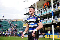 Jeff Williams of Bath Rugby is all smiles after the match. Aviva Premiership match, between Bath Rugby and Sale Sharks on April 23, 2016 at the Recreation Ground in Bath, England. Photo by: Patrick Khachfe / Onside Images