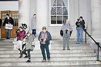News photographers wait outside the NH State House as a  small crowd of Trump supporters wait to greet Vice President Mike Pence after he leaves the New Hampshire Secretary of State's office in the New Hampshire State House in Concord, New Hampshire, on Thu., November 7, 2019. Pence traveled to New Hampshire as a surrogate for Donald Trump to file required paperwork for the president to get on the New Hampshire presidential primary ballot in 2020. The required documents include a filing form signed by the candidate and a $1000 filing fee.