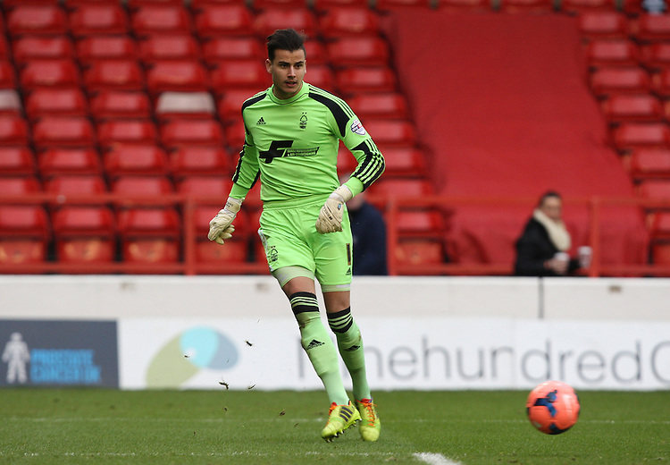 Nottingham Forest's Karl Darlow in action <br /> Photo by Kieran Galvin/CameraSport<br /> <br /> Football - FA Challenge Cup Third Round - Nottingham Forest v West Ham United - Sunday 5th January 2014 - The City Ground - Nottingham<br /> <br />  &copy; CameraSport - 43 Linden Ave. Countesthorpe. Leicester. England. LE8 5PG - Tel: +44 (0) 116 277 4147 - admin@camerasport.com - www.camerasport.com