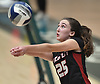 Kayla Gray #25 of Wheatley makes a set during the girls volleyball Class B Long Island Championship against Bayport-Blue Point at Farmingdale State College on Sunday, Nov. 11, 2018.