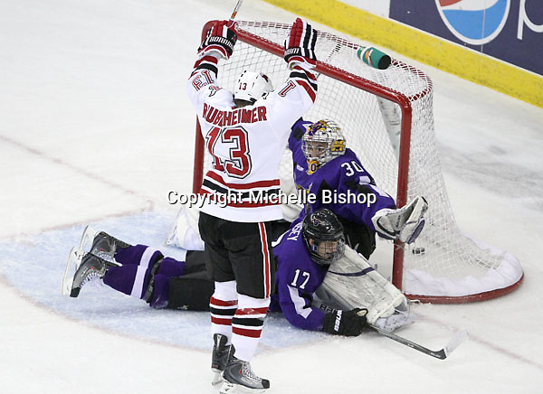 UNO's Zahn Raubenheimer celebrates his goal which put the Mavs up 2-1 during the first period of Saturday night's game at Qwest Center Omaha. No. 8 UNO went on to win 5-2. (Photo by Michelle Bishop)