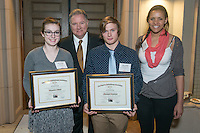 From left, Alexandra Filkins '16, Timothy Philen, Marshall Trautman'16 and Megan Olayinka '15. Occidental College hosts the Scholarship Appreciation Reception, February 13, 2014 in Dumke Commons of Swan Hall.  (Photo by Marc Campos, Occidental College Photographer)