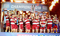 The Wigan Warriors team lift the trophy<br /> <br /> Photographer Alex Dodd/CameraSport<br /> <br /> Betfred Super League Grand Final - Wigan Warriors v Warrington Wolves - Saturday 13th October 2018 - Old Trafford - Manchester<br /> <br /> World Copyright &copy; 2018 CameraSport. All rights reserved. 43 Linden Ave. Countesthorpe. Leicester. England. LE8 5PG - Tel: +44 (0) 116 277 4147 - admin@camerasport.com - www.camerasport.com
