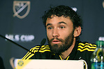 04 December 2015: Columbus Crew captain Michael Parkhurst. Major League Soccer held a press conference two days before MLS Cup 2015 between the Portland Timbers FC and Columbus Crew SC. The Press Conference was held at the Greater Columbus Convention Center in Columbus, Ohio.
