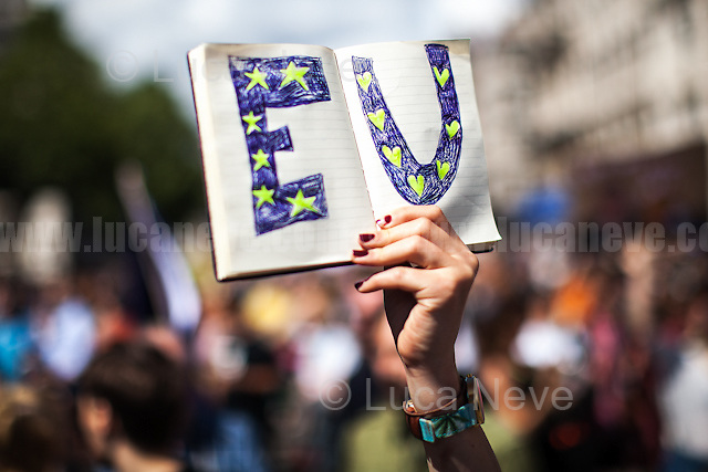 London, 02/07/2016. Today, more than 60 thousand people marched peacefully from Park Lane to Parliament Square to protest against the EU Referendum result which is leading the United Kingdom to the so called &quot;Brexit&quot;, in other words to leave the European Union. Protestors of all ages were present in significant numbers representing all the generations of the British population. On the 23rd of June 2016 the British people voted in the EU Referendum (Turnout 72.2%): 51,9% to leave the EU (17,410,742 Votes) versus 48,1% to remain in the EU (16,141,241 Votes). In the morning of the 24th of June the British Prime Minister David Cameron gave a speech outside 10 Downing Street in which he announced the EU Referendum results and his formal resignation within 3 months. Cameron decision triggered the leadership race in the Conservative Party between the Home Secretary Theresa May MP (backed Remain in the EU Referendum) and the Lord Chancellor and Secretary of State for Justice Michael Gove MP (backed Leave in the EU Referendum). On the 30th of June, the former Mayor of London and major figure in the Leave Campaign, Boris Johnson MP, surprisingly withdrew from the leadership contest. The new leader of the Conservative Party will succeed David Cameron as the new British Prime Minister.<br /> <br /> For more information about the demo please click here: https://www.facebook.com/events/1732671000335981/ &amp; https://www.facebook.com/events/244646665920554/<br /> <br /> For more information about the result please click here: http://www.bbc.co.uk/news/politics/eu_referendum/results