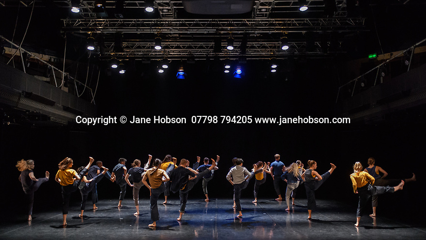 """Leeds, UK. 19.03.2019. First and Third Year students of BA (Hons) Dance (Contemporary), at the Northern School of Contemporary Dance, present work as part of FLOCK FEST, in the Riley Theatre. This piece is: """"Here Beneath the Stars I'm Mending"""" by choreographer Anna Williams. The dancers are: Var Bech, George Bishop, Lisa Chearles, Chiara de Craene, Kieron Donohoe-Faller, Grace Ford, Alex Gosmore, Clara Grosjean, Angharad Jones-Young, Ting Lee, Zara Lee, Kamal Macdonald, Maya Marsh, Lexie McPherson, Martha Pigg, Cushla Sutherland, Alfie Theobald, Sophie Thomas, Tammy Tsang, Brannon Yau. Photograph © Jane Hobson."""