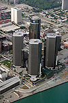 "Aerial photograph of the world headquarters of General Motors, the Renaissance Center, in downtown Detroit, Mich., taken from on board the Akron, Ohio based ""Spirit of Goodyear"" airship on Monday, July 11, 2005 as it headed out to the start of the 2005 Major League Baseball All-Stars Homerun Derby at Comerica Park (Photo by Tony Ding)"