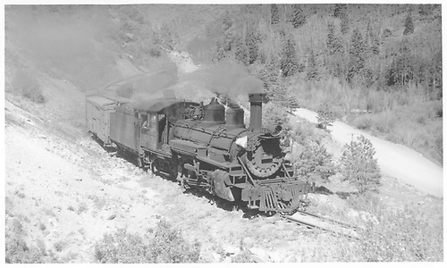 K-27 #463 southbound below Sam with freight.<br /> RGS  below Sam, CO  Taken by Perry, Otto C. - 6/11/1942