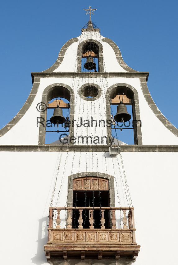 Spain, Canary Islands, La Palma, Tazacorte: village church, bell tower