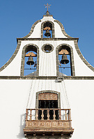 Spain, Canary Islands, La Palma, Tazacorte: village church, bell tower