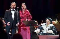 Jordi Galan, Montserrat Marti, Montserrat Caballe<br /> Perfomance at State Kremlin palace, Moscow, Russia on June 06,  2018.<br /> **Not for sale in Russia or FSU**<br /> CAP/PER/EN<br /> &copy;EN/PER/Capital Pictures