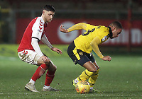 Oxford United's Jordan Graham shields the ball from Fleetwood Town's Wes Burns<br /> <br /> Photographer Rich Linley/CameraSport<br /> <br /> The EFL Sky Bet League One - Fleetwood Town v Oxford United - Saturday 12th January 2019 - Highbury Stadium - Fleetwood<br /> <br /> World Copyright &copy; 2019 CameraSport. All rights reserved. 43 Linden Ave. Countesthorpe. Leicester. England. LE8 5PG - Tel: +44 (0) 116 277 4147 - admin@camerasport.com - www.camerasport.com
