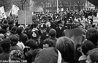 Protestors enter Grosvenor Square and scuffles with police begin, anti-Vietnam war demonstration march from Trafalgar Sq to Grosvenor Sq Sunday 17th March 1968.