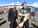 Stan Collymore speaks to a police officer during the FIFA World Cup Qualifying match at Hampden Park Stadium, Glasgow Picture date 10th June 2017. Picture credit should read: David Klein/Sportimage