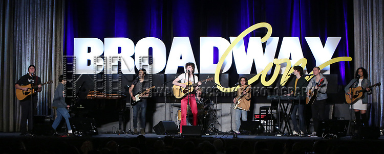 """Brenock O'Connor  and the cast from """"Sing Street - A Musical"""" during the BroadwayCON 2020 First Look at the New York Hilton Midtown Hotel on January 24, 2020 in New York City."""