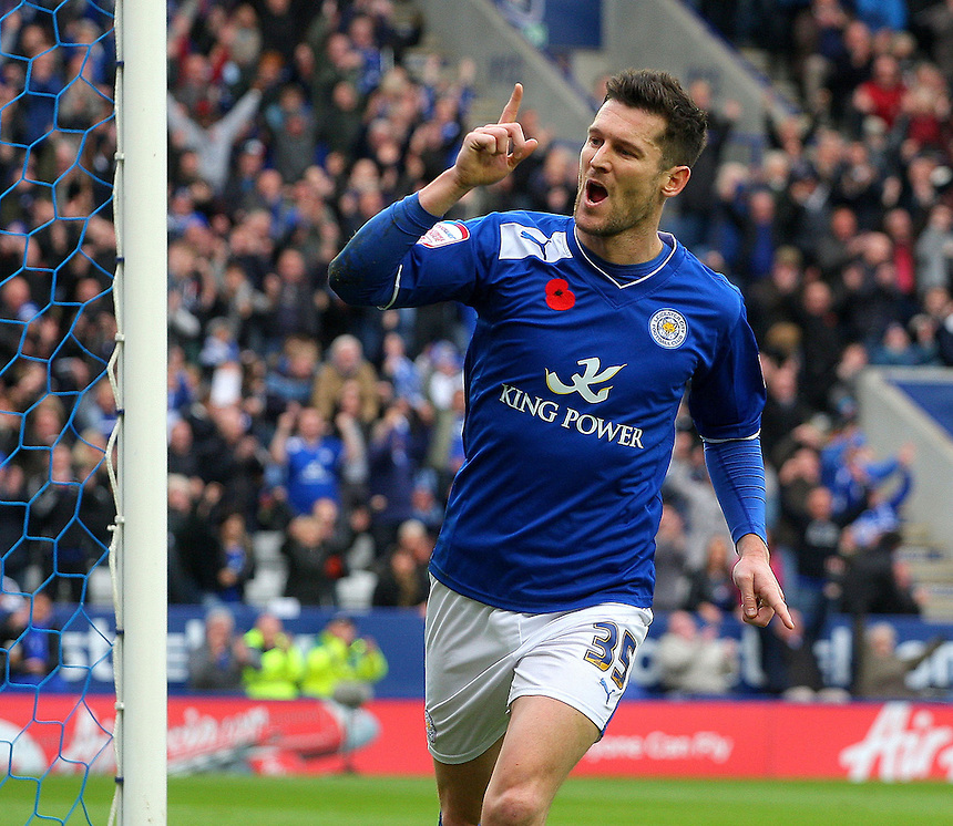Leicester City's David Nugent celebrates scoring his sides second goal ..Football - npower Football League Championship - Leicester City v Nottingham Forest - Saturday 10th November 2012 - King Power Stadium - Leicester..