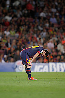 02/09/2012 - Liga Football Spain, FC Barcelona vs. Valencia CF Matchday 3 - Argentinian player from FC Barcelona Lionel Messi reacts