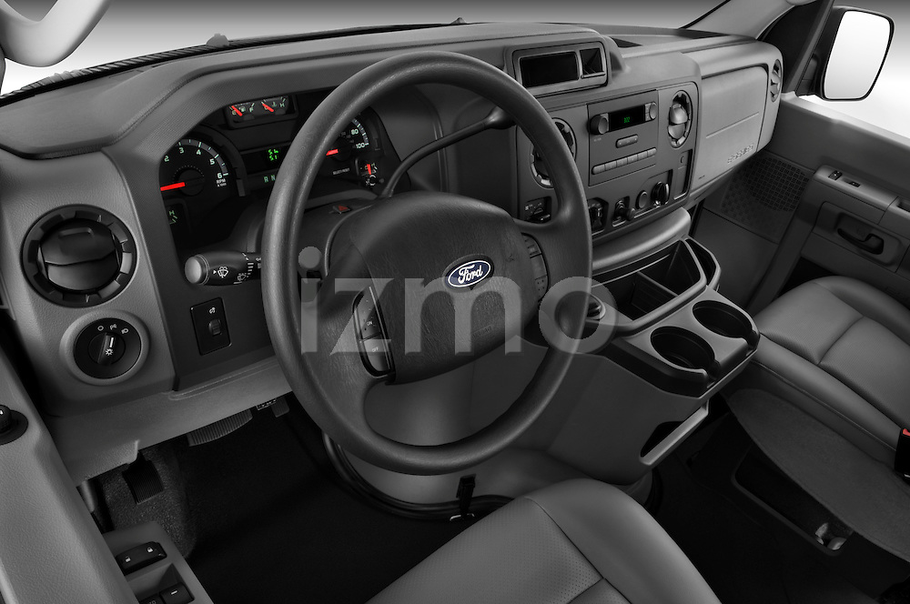High angle dashboard view of a 2009 Ford E 150 Cargovan