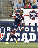 New England Revolution substitute forward Dimitry Imbongo (92) looks to pass. In a Major League Soccer (MLS) match, the New England Revolution tied Philadelphia Union, 0-0, at Gillette Stadium on September 1, 2012.
