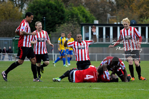 The Hornchurch players celebrate. AFC Hornchurch Vs Eastleigh. Blue Square Bet Conference South. The Stadium. Essex. 17/11/2012. MANDATORY Credit Garry Bowden/Sportinpictures - NO UNAUTHORISED USE - 07837 394578