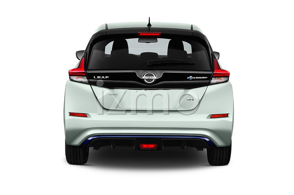 Straight rear view of a 2019 Nissan Leaf SV 5 Door Hatchback stock images