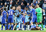 A furious Kelechi Iheanacho of Manchester City is restrained during the Premier League match at the Etihad Stadium, Manchester. Picture date: December 3rd, 2016. Pic Simon Bellis/Sportimage