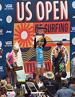 Huntington Beach, CA - Sunday August 06, 2017: Sage Erickson defeats Tatiana Weston-Webb during a World Surf League (WSL) Qualifying Series (QS) Championship Final heat to win the 2017 Vans US Open of Surfing on the South side of the Huntington Beach pier.