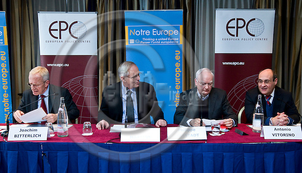 BRUSSELS - BELGIUM - 07 FEBRUARY 2012 -- European Policy Centre (EPC) and Notre Europe  Policy Dialogue -The Maastricht Treaty - 20 years later. -- Panel debate - The three pillars: legacy and challenges - Joachim Bitterlich, former Adviser to Hans-Dietrich Genscher and to Helmut Kohl; Hans Martens, Chief Executive, EPC; Philippe Maystadt, former President of the European Investment Bank; President of the EPC and Antonio Vitorino, former European Commissioner for Justice and Home Affairs; Chairman of the Board of Notre Europe. -- PHOTO: Juha ROININEN /  EUP-IMAGES