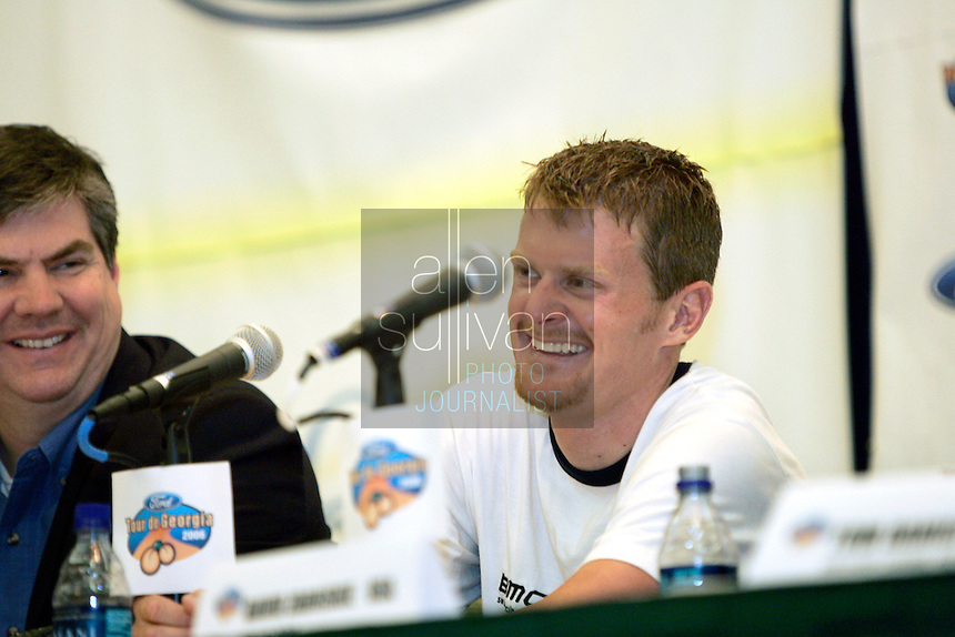 Floyd Landis of Phonak Hearing Systems speaks during a Ford Tour de Georgia press conference at the Marriott Hotel &amp; Suites in Augusta, Ga., on Monday, April 17, 2006. This year's Tour de Georgia pro cycling race encompasses six stages over six days through the northern half of the state, plus a roll into southern Tennessee during the individual time trial. Next to Landis is Dan Rowe, the Deputy Commissioner of Tourism of the Georgia Department of Economic Development.<br />