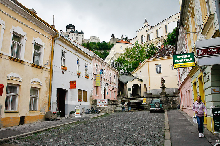 View of Trencin Castle, and Parish Church from Peace Square; Trencin, Slovakia.