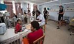 Tougher Kerr-Barlow (L), Ben May, Heiden Bedwell-Curtis, Hayden Triggs. Suva Children's Hospital. Suva, Fiji. July 10 2015. Photo: Marc Weakley