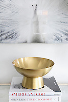 golden decorative bowl Get A Room is a boutique in Scarsdale New York for interior design.