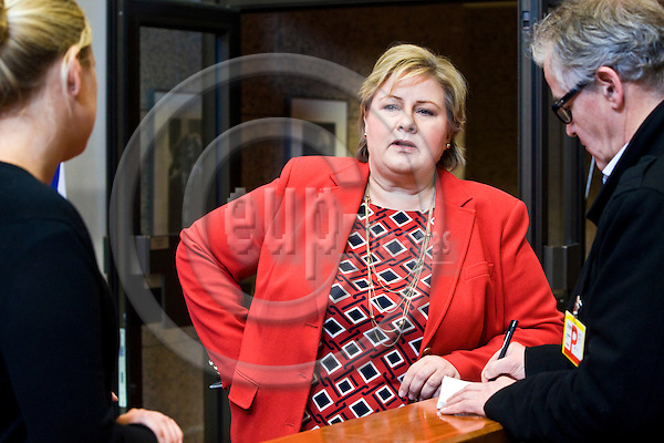 BRUSSELS - BELGIUM - 21 January 2015 -- Erna SOLBERG, Prime Minister of Norway visiting the President of the European Council. Here she is talking to the press. -- Photo: Juha ROININEN / EUP-IMAGES / Prime Ministers Office