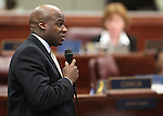 Nevada Assemblyman Kelvin Atkinson, D-North Las Vegas, speaks on the Assembly floor on April 18, 2011, at the Legislature in Carson City, Nev. .Photo by Cathleen Allison