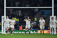 England players look dejected after the final whistle. Rugby World Cup Pool A match between England and Australia on October 3, 2015 at Twickenham Stadium in London, England. Photo by: Patrick Khachfe / Onside Images