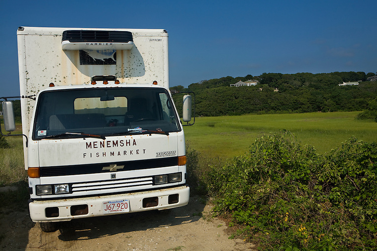 Menemsha Fish Market truck parked alongside the marshes, Menemsha, Martha's Vineyard, Cape Cod, Massachussets