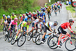 The peloton including World Champion Alejandro Valverde (ESP) Movistar Team and Rui Costa (POR) UAE Team Emirates descend off the C&ocirc;te de Cherave during the 83rd edition of La Fl&egrave;che Wallonne 2019, running 195km from Ans to Huy, Belgium. 24th April 2019<br /> Picture: ASO/Gautier Demouveaux | Cyclefile<br /> All photos usage must carry mandatory copyright credit (&copy; Cyclefile | ASO/Gautier Demouveaux)