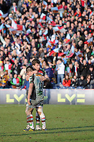 20130317 Copyright onEdition 2013©.Free for editorial use image, please credit: onEdition..Sam Smith celebrates with Ben Botica of Harlequins winning the LV= Cup Final between Harlequins and Sale Sharks at Sixways Stadium on Sunday 17th March 2013 (Photo by Rob Munro)..For press contacts contact: Sam Feasey at brandRapport on M: +44 (0)7717 757114 E: SFeasey@brand-rapport.com..If you require a higher resolution image or you have any other onEdition photographic enquiries, please contact onEdition on 0845 900 2 900 or email info@onEdition.com.This image is copyright onEdition 2013©..This image has been supplied by onEdition and must be credited onEdition. The author is asserting his full Moral rights in relation to the publication of this image. Rights for onward transmission of any image or file is not granted or implied. Changing or deleting Copyright information is illegal as specified in the Copyright, Design and Patents Act 1988. If you are in any way unsure of your right to publish this image please contact onEdition on 0845 900 2 900 or email info@onEdition.com