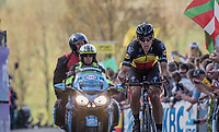 Philippe Gilbert (BEL/Quick Step floors) tops the Paterberg detached from the leaders group he was in<br /> <br /> 101th Ronde Van Vlaanderen 2017 (1.UWT)<br /> 1day race: Antwerp &rsaquo; Oudenaarde - BEL (260km)