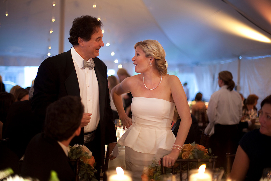 CONCORD, MA.-- October 15, 2011-- Victoria Bonney and Joseph Goodwin with Steve Pagliuca, co-owner of the Boston Celtics and one-time candidate for Massachusetts Senate at their wedding celebration. The bride and groom met while working on his Senate campaign. CREDIT: JODI HILTON FOR THE NEW YORK TIMES