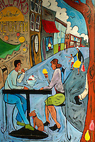 Mural showing a couple eating ice cream at an outdoor cafe, Bellingham, Washington, USA....