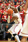 DeAngelo Casto (#23), Washington State sophomore, battles Landry Fields for a rebound during the Cougars Pac-10 conference, 77-73 victory over the Stanford Cardinal at Friel Court at Beasley Coliseum in Pullman, Washington, on January 16, 2010.