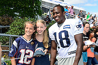 Wednesday, August 17, 2016: New England Patriots wide receiver Matthew Slater (18) poses with fans for a photo at a joint training camp session between the Chicago Bears and the New England Patriots held at Gillette Stadium in Foxborough Massachusetts. Eric Canha/CSM