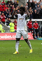 Sunday, 26 April 2014<br /> Pictured: Wilfried Bony of Swansea celebrating his goal he scored form the penalty spot, making the score 4-1 to his team.<br /> Re: Barclay's Premier League, Swansea City FC v Aston Villa at the Liberty Stadium, south Wales.