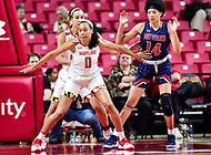 College Park, MD - NOV 21, 2017: Maryland Terrapins forward Aja Ellison (0) prevents Howard Bison forward Imani Bryant (14) from getting the ball during game between the Howard Lady Bison and the Maryland Terrapins at the XFINITY Center in College Park, MD.  (Photo by Phil Peters/Media Images International)