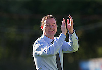 Derek Adams manager of Plymouth Argyle celebrates his teams victory during the Sky Bet League 2 match between Wycombe Wanderers and Plymouth Argyle at Adams Park, High Wycombe, England on 12 September 2015. Photo by Andy Rowland.