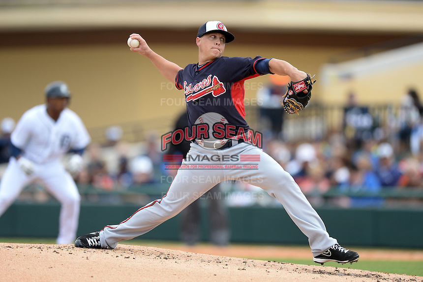 Atlanta Braves pitcher Kris Medlen (54) during a spring training game against the Detroit Tigers on February 27, 2014 at Joker Marchant Stadium in Lakeland, Florida.  Detroit defeated Atlanta 5-2.  (Mike Janes/Four Seam Images)