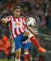 11.04.2012 MADRID, SPAIN - La Liga match played between At. Madrid vs Real Madrid (1-4) with hat-trick of Cristiano Ronaldo at Vicente Calderon stadium. The picture show Filipe Luis Karsmirski (Brazilian defender of At. Madrid)
