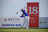 Yung-Hua LIU (TPE) watches his tee shot on 18 during Rd 1 of the Asia-Pacific Amateur Championship, Sentosa Golf Club, Singapore. 10/4/2018.<br /> Picture: Golffile | Ken Murray<br /> <br /> <br /> All photo usage must carry mandatory copyright credit (&copy; Golffile | Ken Murray)